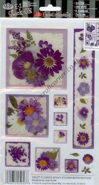 Violet Flowers Epoxy Stickers from E-Z Stick On